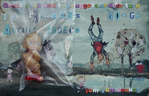 20 x 13 inches - Found Painting/Collage/Stickers/Foam Letters/Plastic Bag/Celluloid Toy